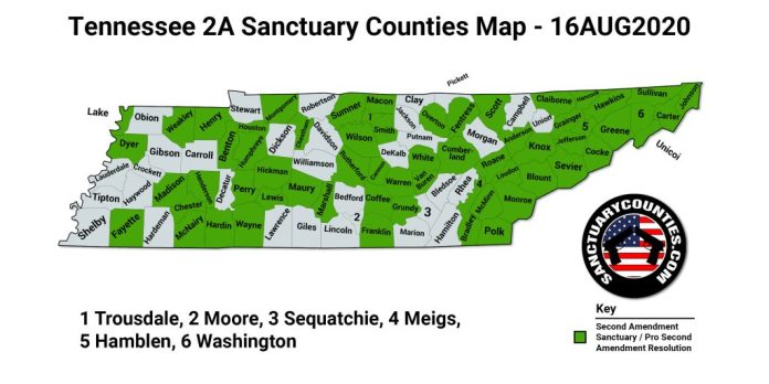 Tennessee 2A Sanctuary Counties Map