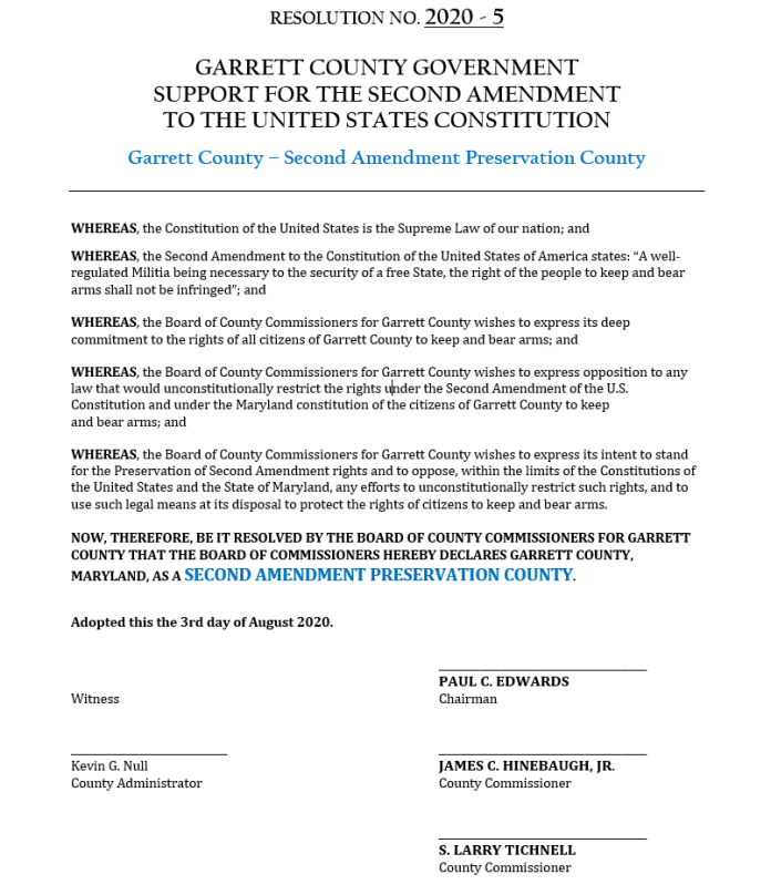 Garrett County Maryland Second Amendment Preservation Resolution