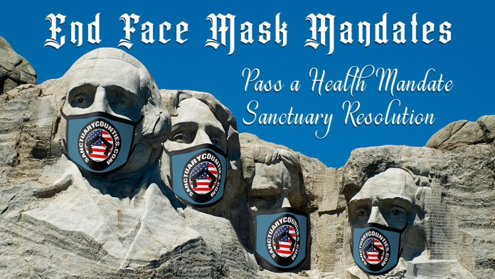 Picture showing the presidents on Mount Rushmore wearing facemasks. Text reads,