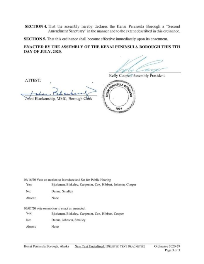 Kenai Peninsula Borough Second Amendment Sanctuary Ordinance 2020-29 page 3
