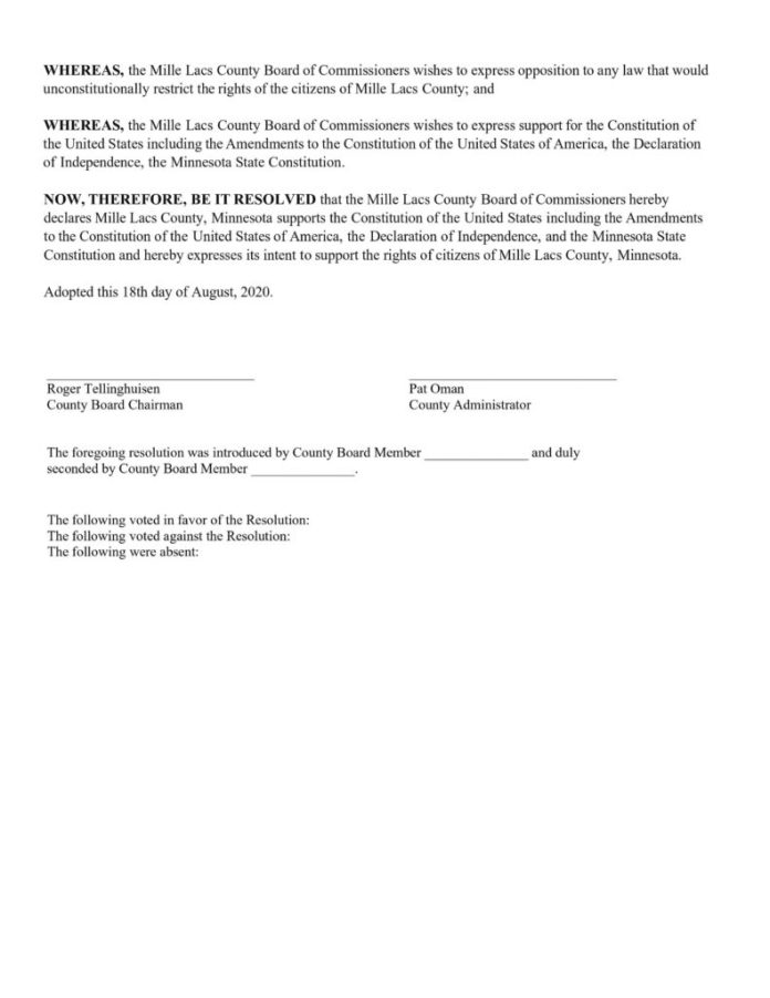 Mille Lacs County Minnesota - Resolution No. 08-18-2020-01 Second Amendment Page 2