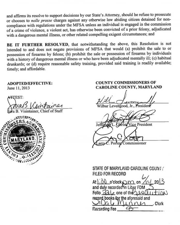Caroline County Maryland Resolution 2013-021 page 2