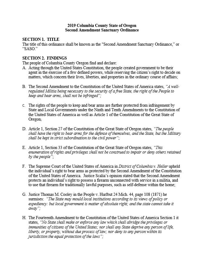 Columbia County Second Amendment Sanctuary Ordinance Page 1