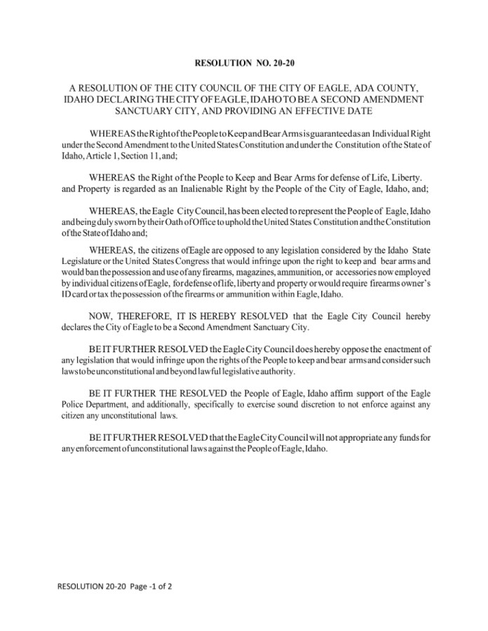 Eagle City Second Amendment Sanctuary Resolution