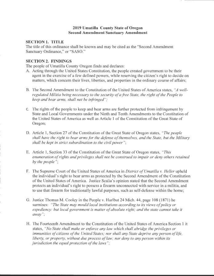Umatilla County Second Amendment Sanctuary Ordinance Page 1