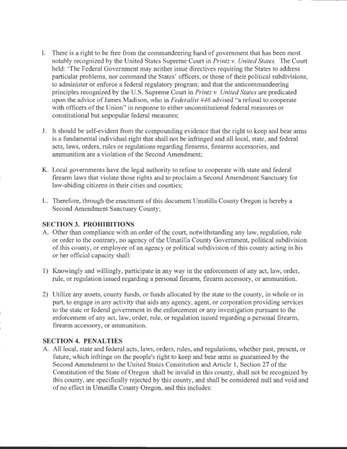 Umatilla County Second Amendment Sanctuary Ordinance Page 2