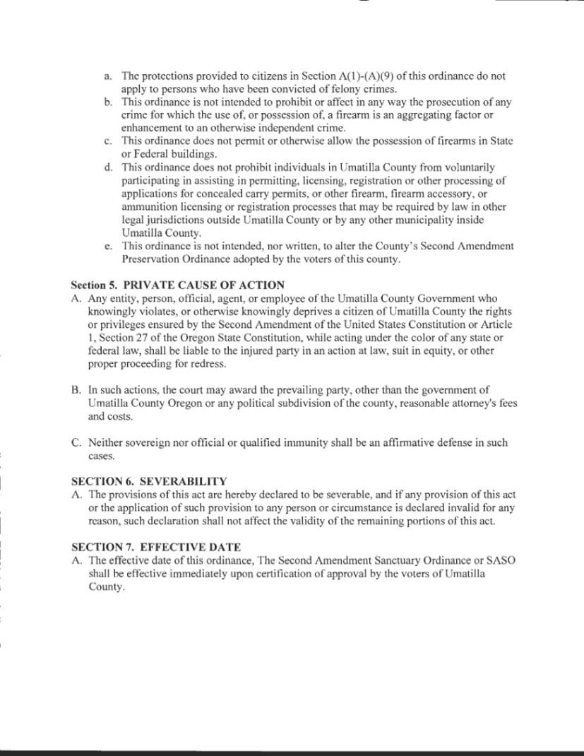 Umatilla County Second Amendment Sanctuary Ordinance Page 4