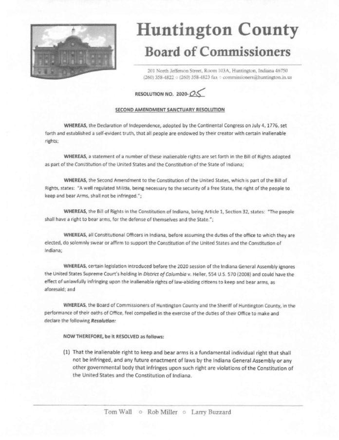 Huntington County Indiana Second Amendment Sanctuary Resolution pg 1