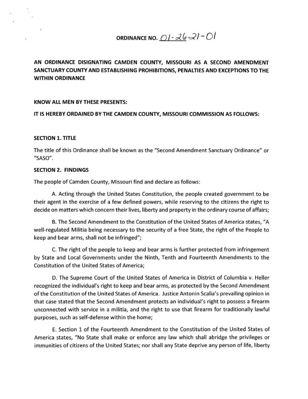 Camden County Second Amendment Sanctuary Ordinance pg-1