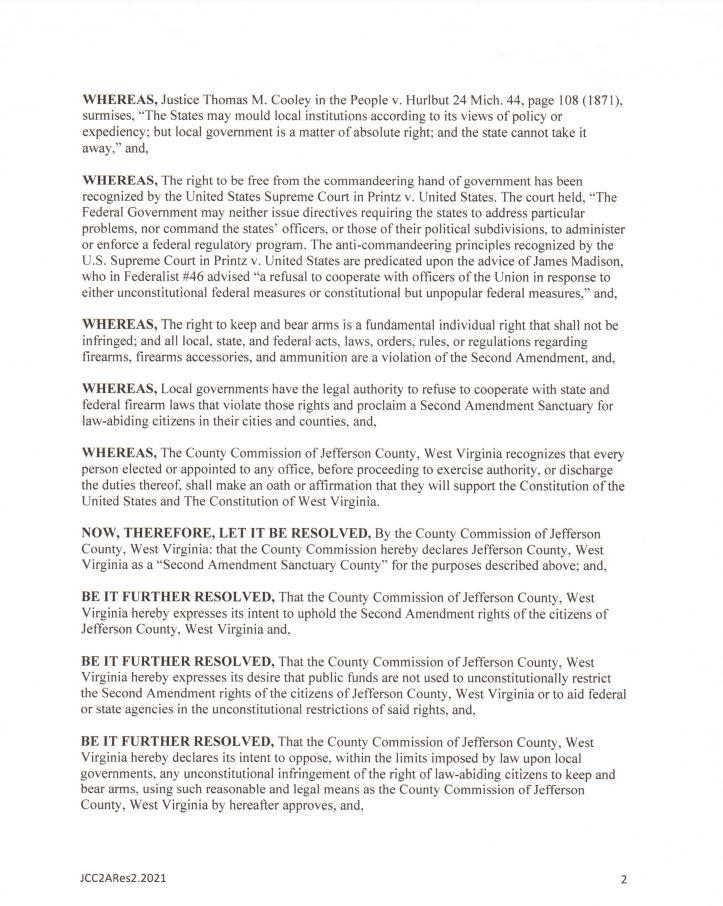 Jefferson County West Virginia Second Amendment Sanctuary Resolution pg2