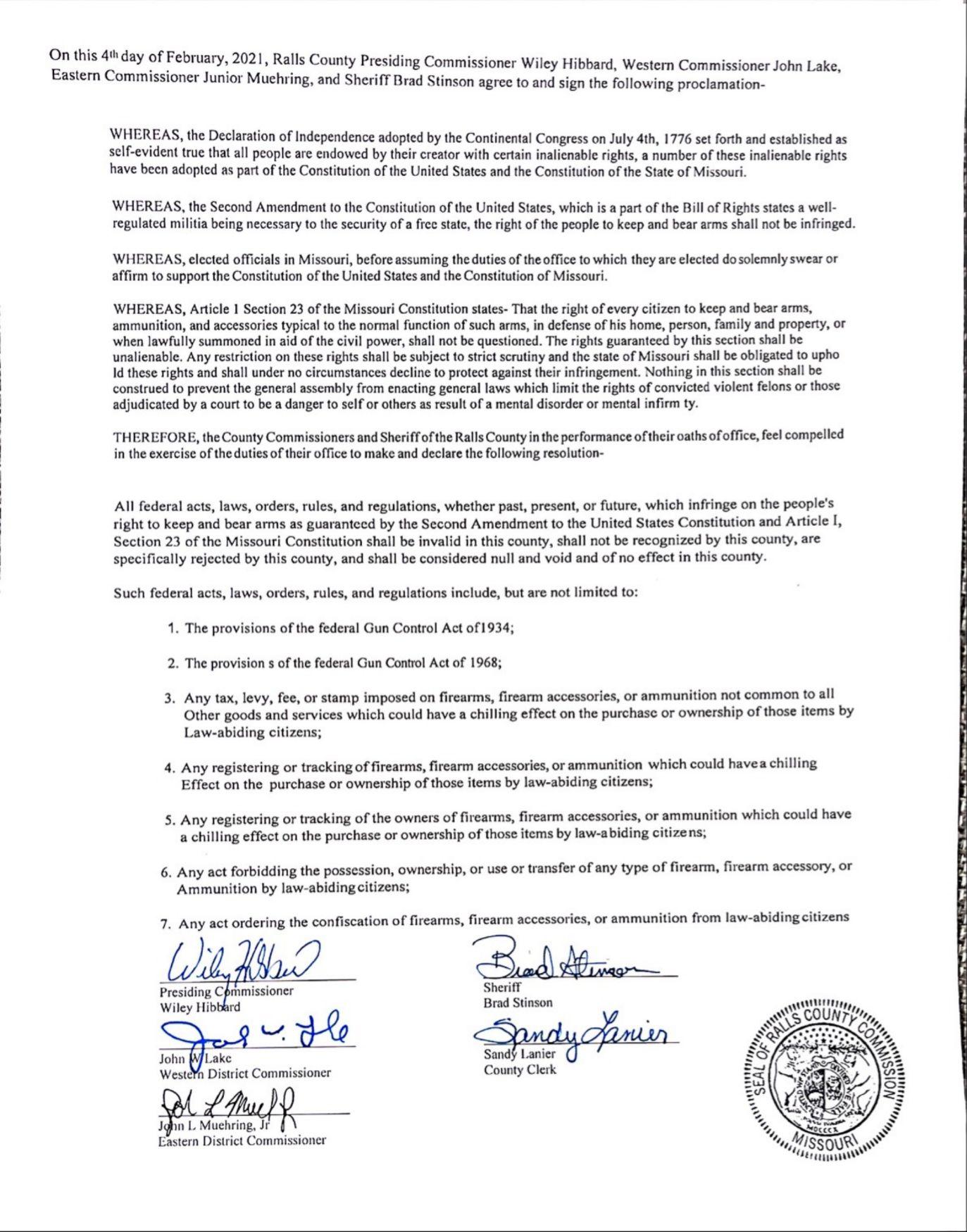 Ralls County, Missouri Pro-Second Amendment Proclamation