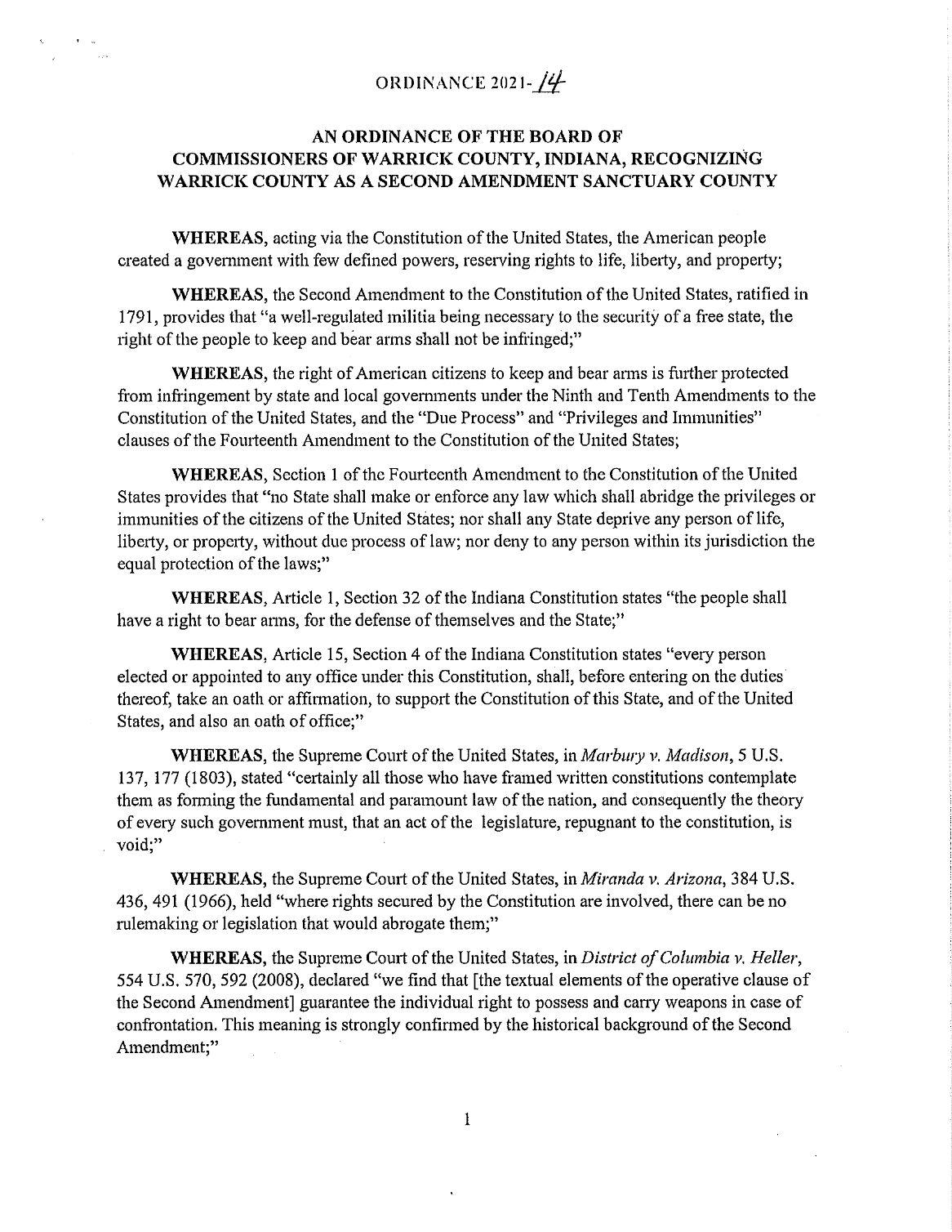 Warrick County Second Amendment Sanctuary Ordinance pg1