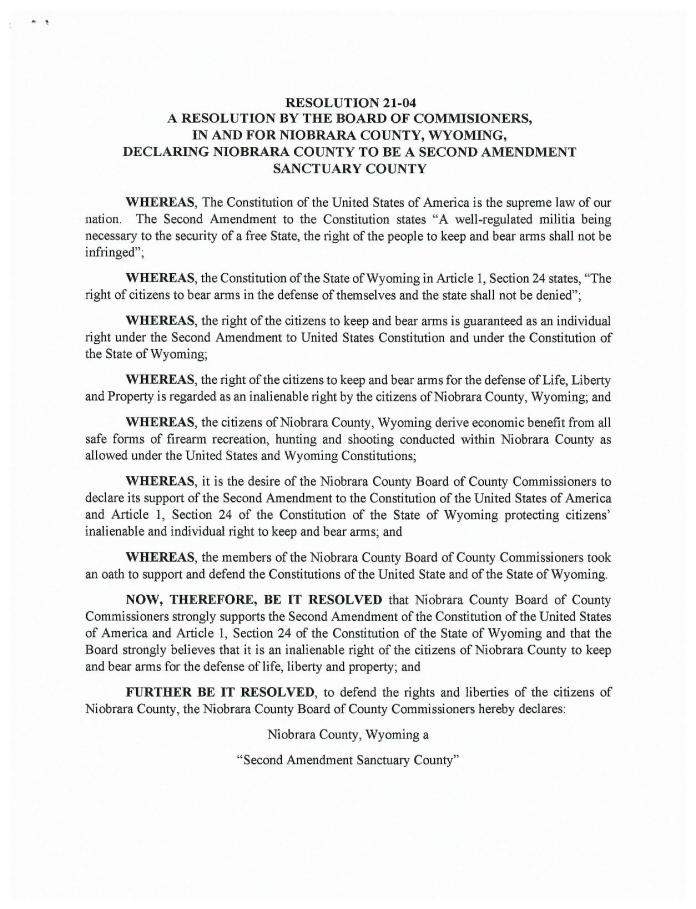 Niobrara County, Wyoming Second Amendment Sanctuary page 1