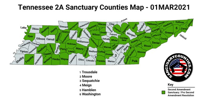 Tennessee Second Amendment Sanctuary State Map
