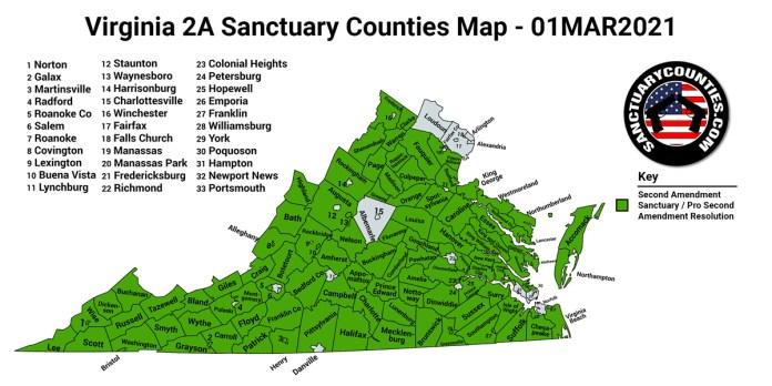 Virginia Second Amendment Sanctuary State Map