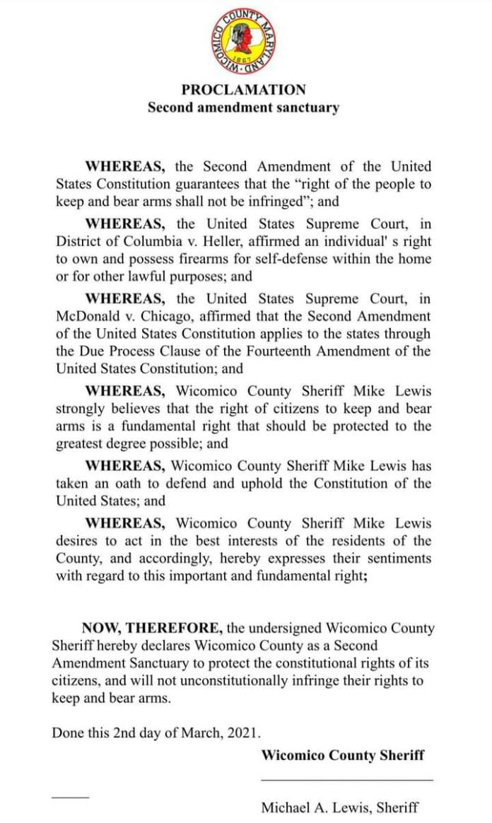 Wicomoco County Maryland Second Amendment Sanctuary Proclamation
