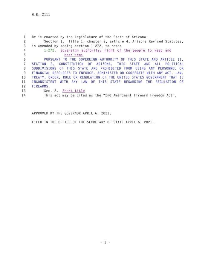 Arizona 2nd Amendment Firearm Freedom Act PG2