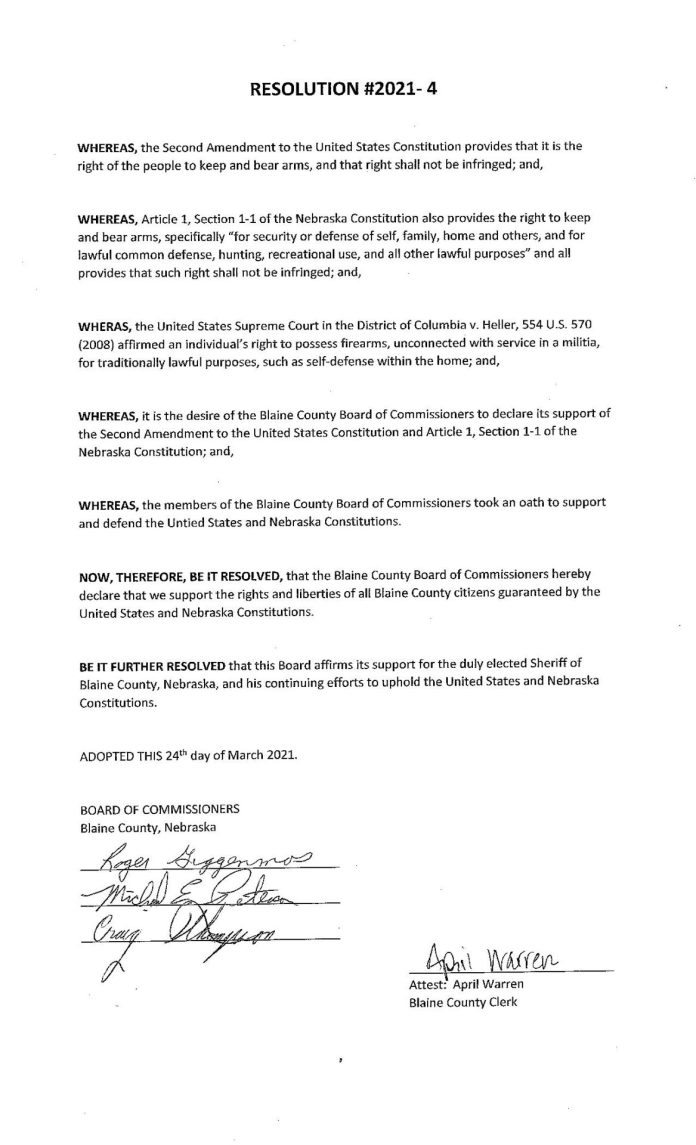 Blaine County Nebraska Resolution Page 1