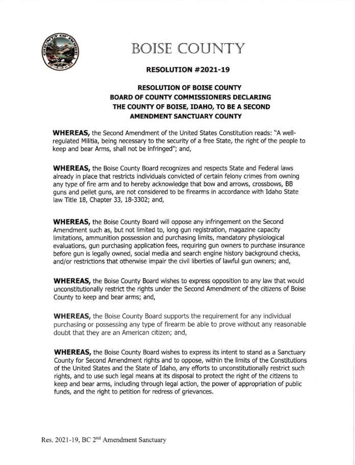 Boise County Idaho Resolution Page 1
