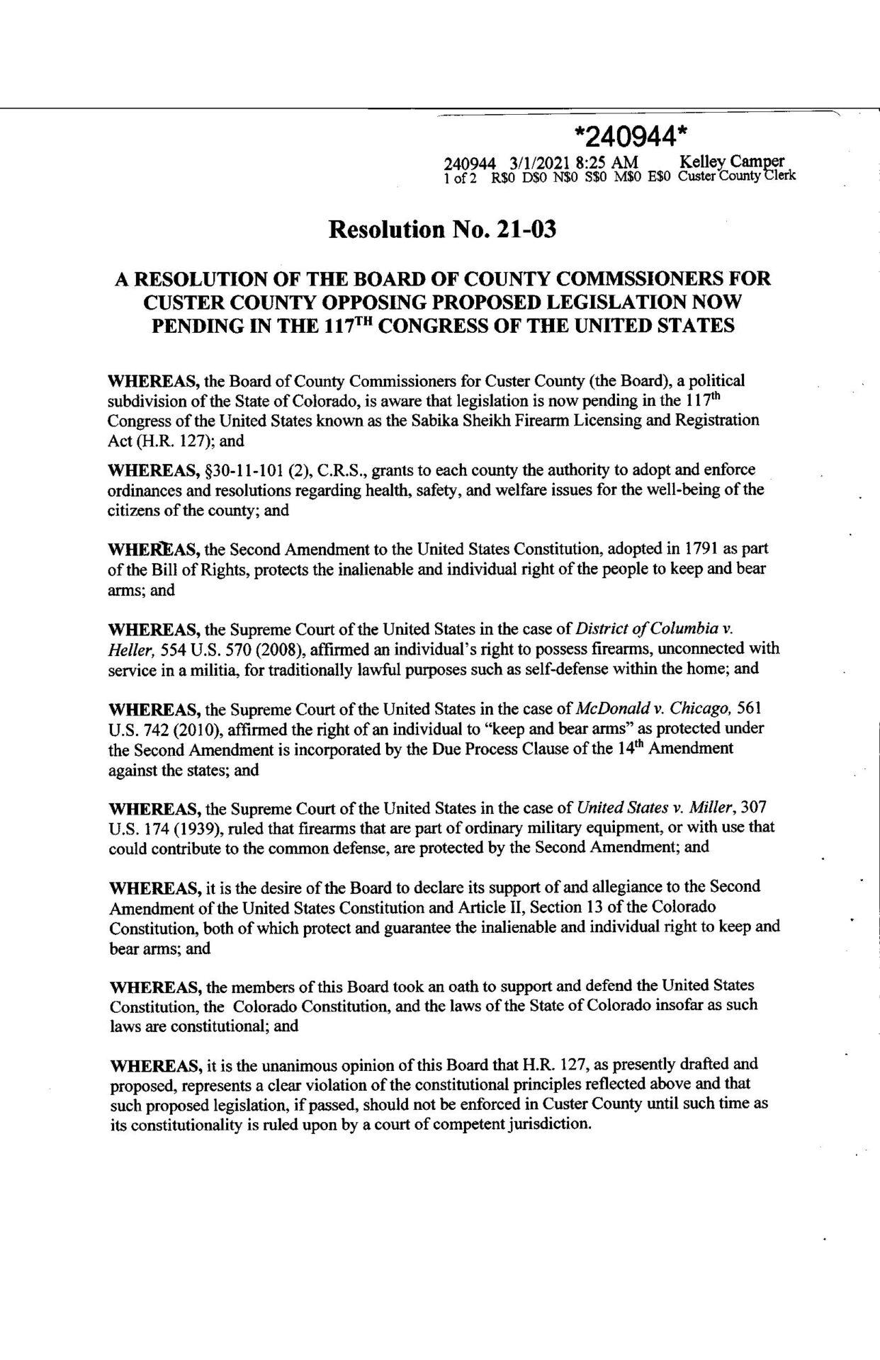 Custer County Colorado Resolution page 1