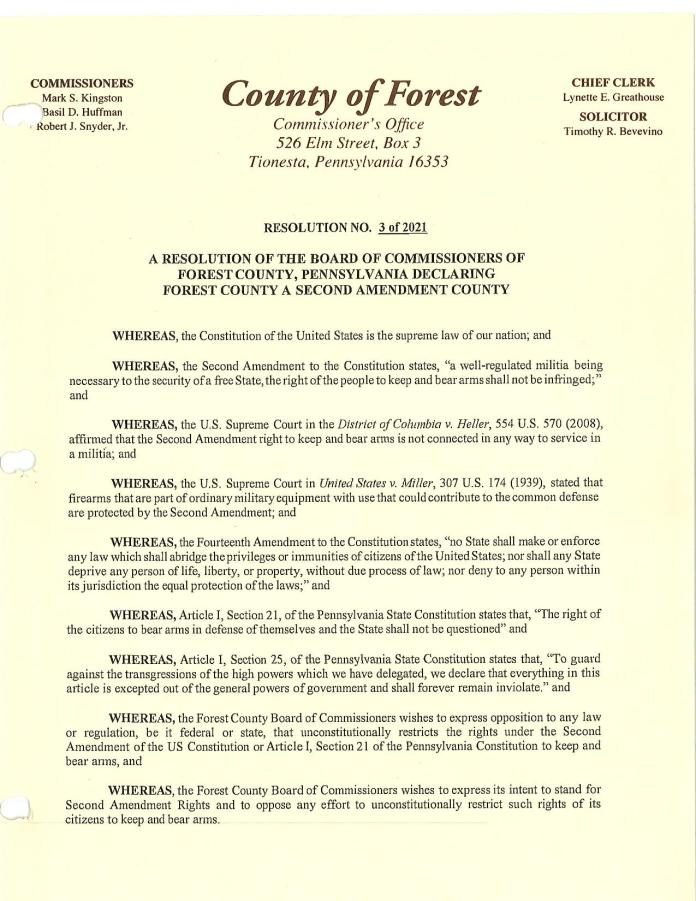 Forest County Pennsylvania Resolution Page 1