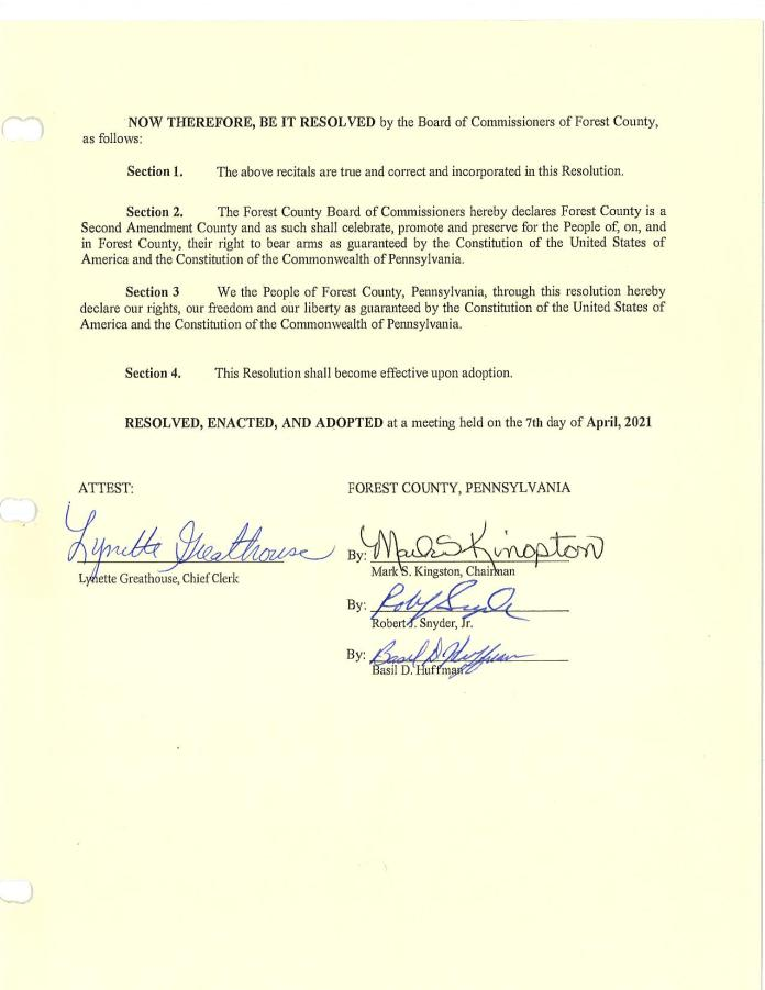 Forest County Pennsylvania Resolution Page 2