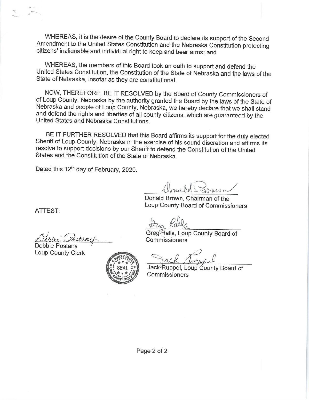 Loup County Nebraska Second Amendment Support Resolution Page 2