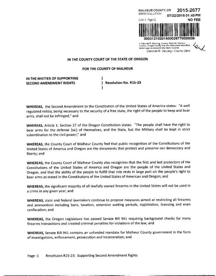 Malheur County Resolution in Support of the Second Amendment page 1