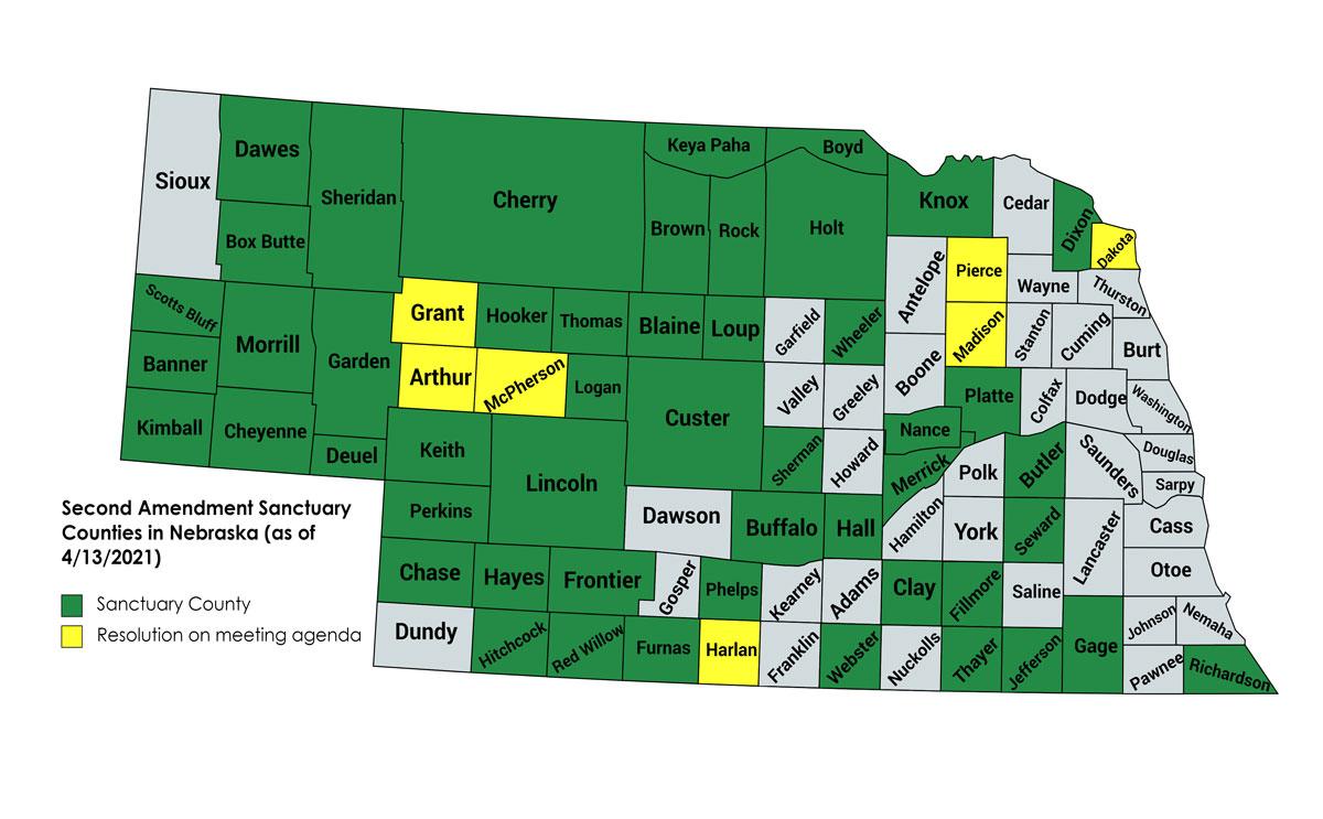 Nebraska 2A Sanctuary Counties Map - 13APR2021