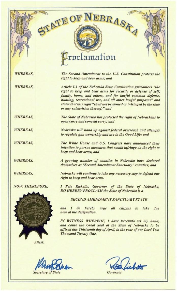 Nebraska Second Amendment Sanctuary State Proclamation