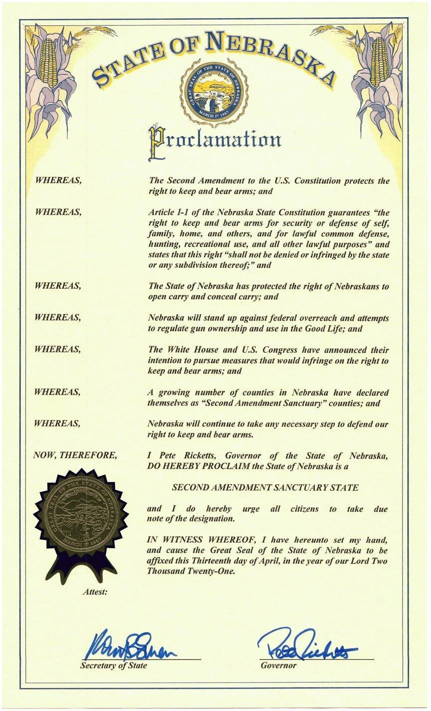 Nebraska Second Amendment Sanctuary State Proclamation