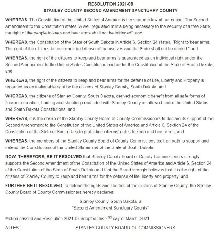 Stanley County South Dakota Second Amendment Sanctuary Resolution Page 1