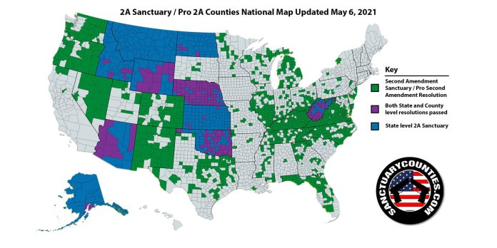 Second Amendment Sanctuary National Map 06MAY2021