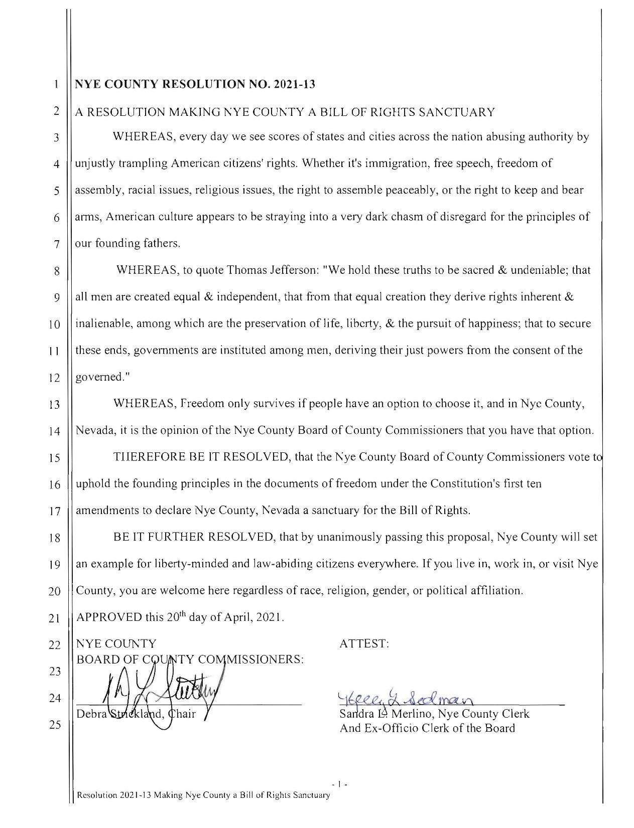 Nye County Bill of Rights Sanctuary Page 1