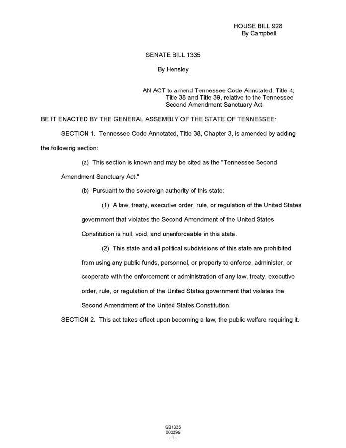 SB1335 - Tennessee Second Amendment Sanctuary Act
