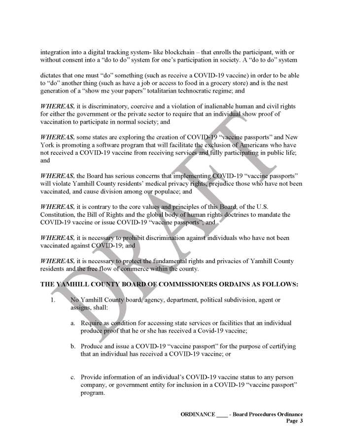 Yamhill County, OR Vaccine Passport Sanctuary Draft Page 3