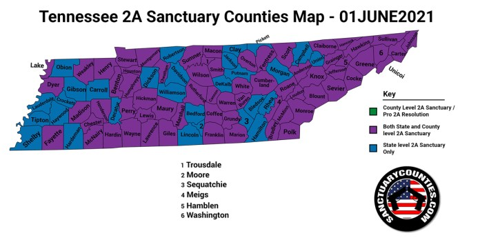 Tennessee Second Amendment Sanctuary Updated Map June 01 2021