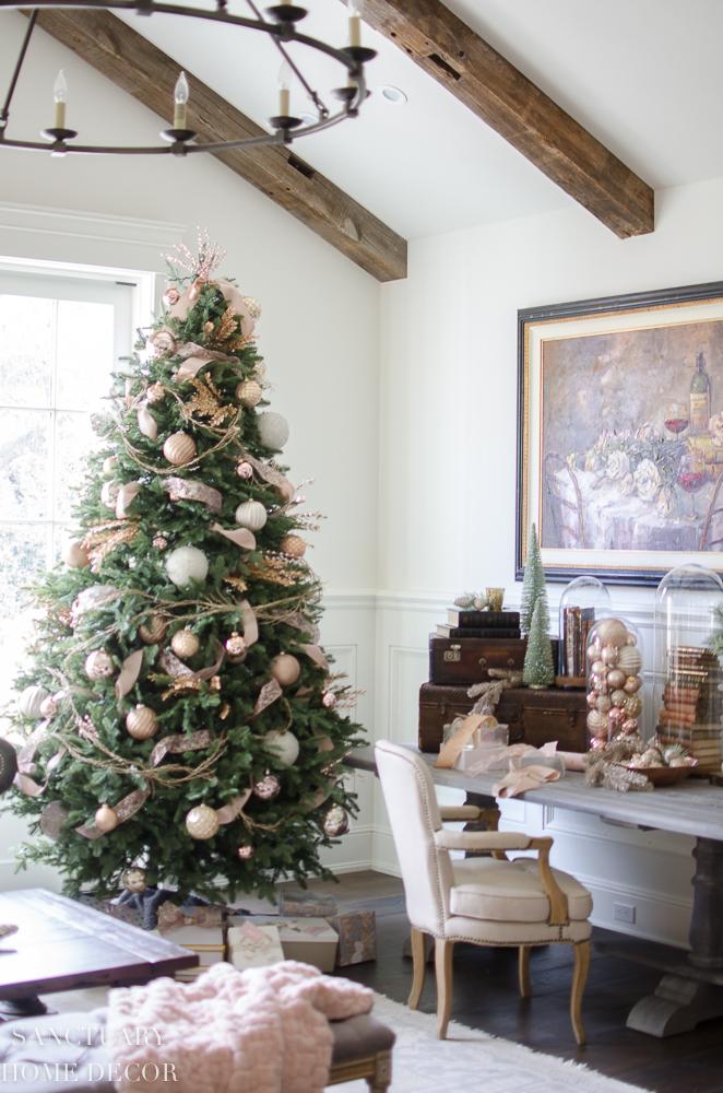 Rose Gold Tinsel Christmas Tree Decorating Ideas Novocom Top