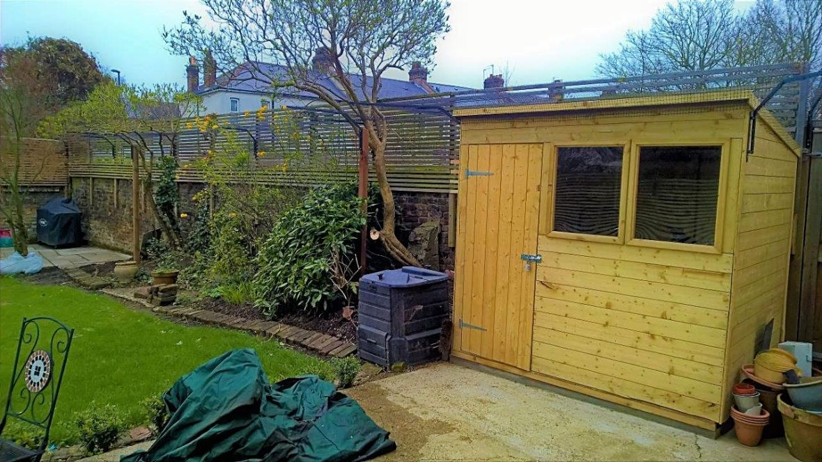 Cat proof fence around shed