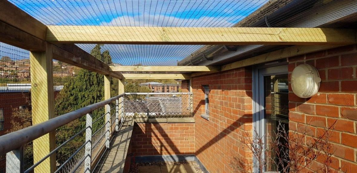 Balcony cat enclosure for roof terrace