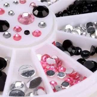 Nail Art 1pc 3D Acrylic Nail Art Tips Decoration Flat Back Glitter Rhinestones Pearls Beads Nails-