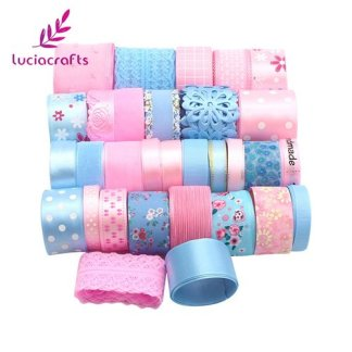 New arrival 15yards 10-45mm Mix Pink Blue Ribbons Trim Lace Set for Bow Craft DIY Sewing-Christmas