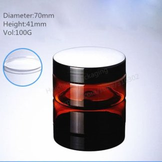 Amber Plastic Jar-10x100gms-Lid included