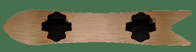A sandboard, for sand boarding.