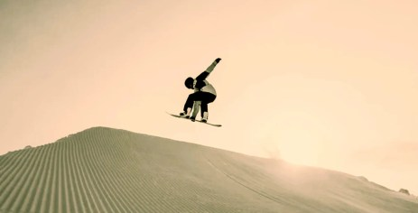 Using a snowboard on sand dunes?