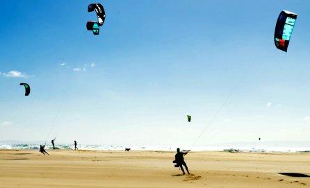 Kitesurfing on sand