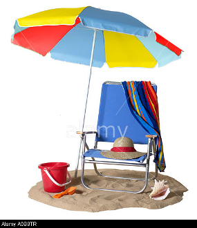 A0B8TR Blue Beach Chair with Umbrella towel hat shell bucket and shovel