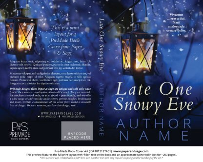 Print layout for Pre-Made Book Cover ID#181212TA01 (Late One Snowy Eve)