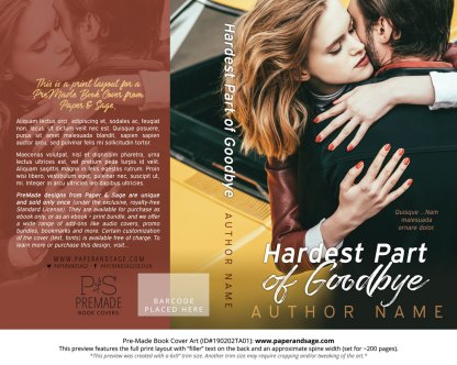 Print layout for Pre-Made Book Cover ID#190202TA01 (Hardest Part of Goodbye)