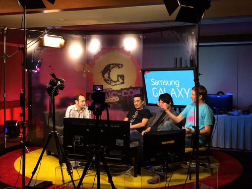 getting ready to record on GameSpot at SDCC